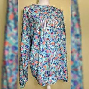 LulaRoe Pull Over Spell Out Logo Sweater XL Floral